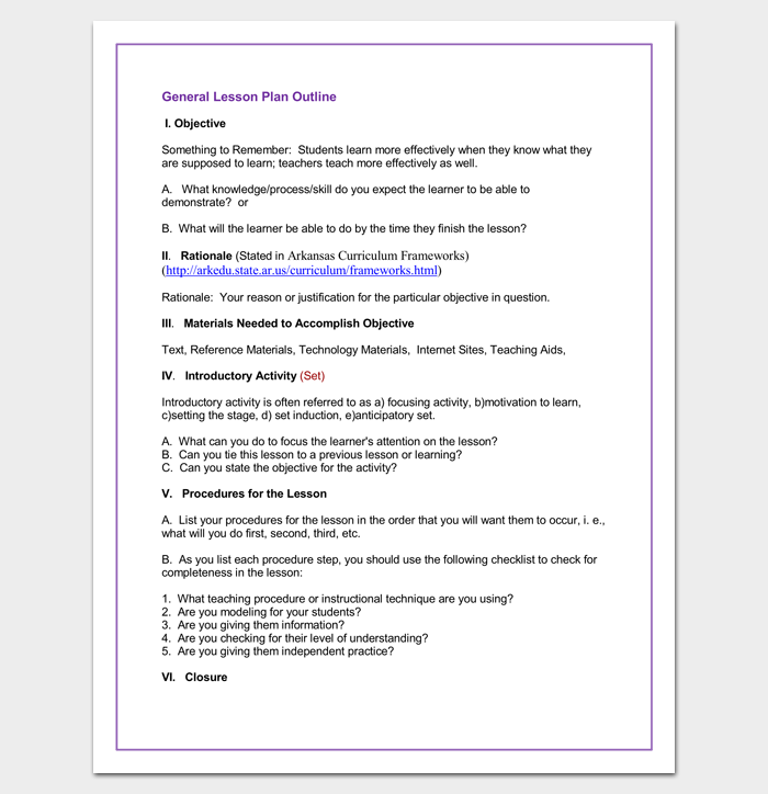 Lesson plan outline template 23 examples formats and samples general lesson plan outline format thecheapjerseys Gallery