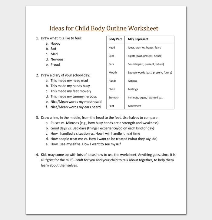 Ideas for Child Body Outline Worksheet