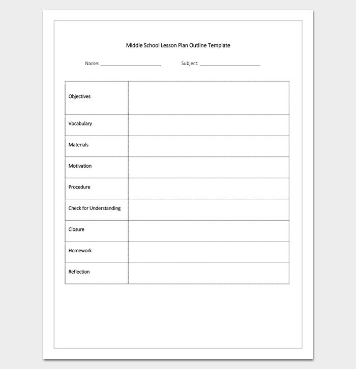 Middle School Lesson Plan Outline Template