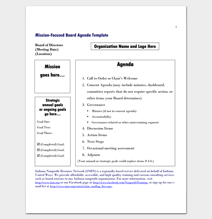 Meeting outline template 13 formats examples and samples for First board meeting agenda template