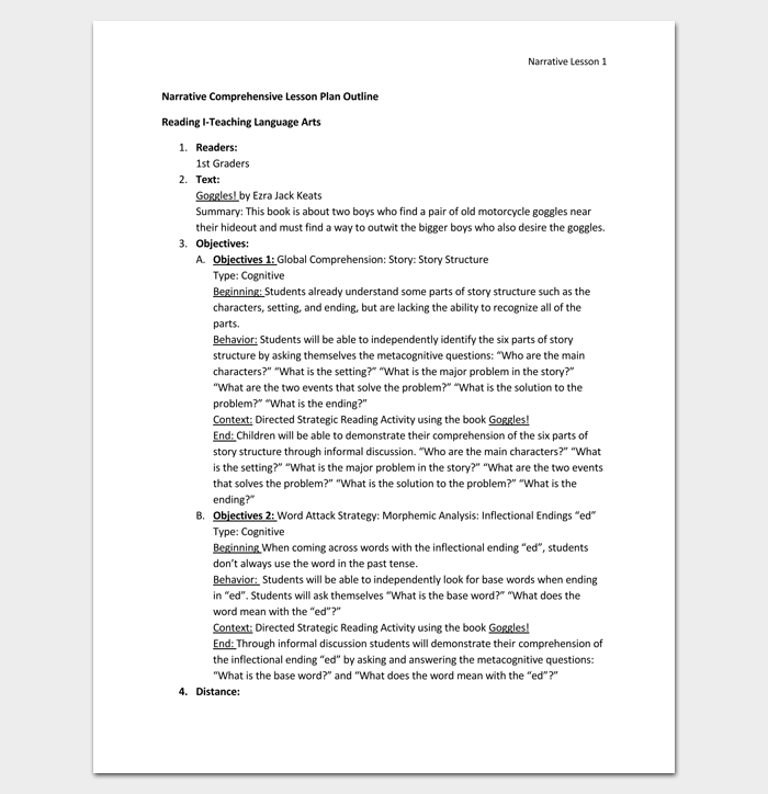 Lesson plan outline template 23 examples formats and samples narrative comprehensive lesson plan outline format thecheapjerseys Gallery