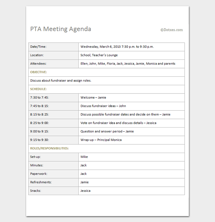 pta agenda sample