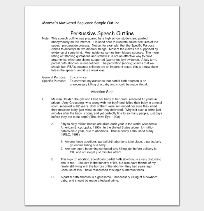 a persuasive speech material on the outline in monroes sequence Persuasive speech outline - persuasive speech  monroe's motivated sequence this method of organizing material forms the  monroes motivated sequence.
