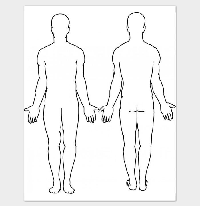 Printable Outline of Human Body (Front and Back)