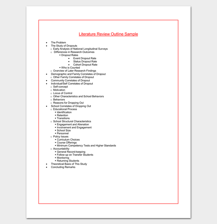 Literature Review Outline Template - 20+ Formats, Examples & Samples