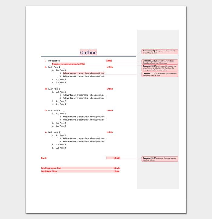 Program Outline Template 14 Sample Example Amp Format