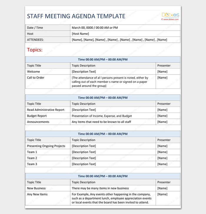 Staff Meeting Agenda Template For Word