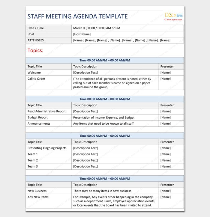 Agenda Outline Template - 10+ For Word, Excel, PDF Format