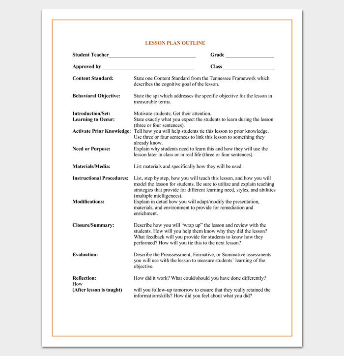 Lesson Plan Outline Template 23 Examples Formats And Samples