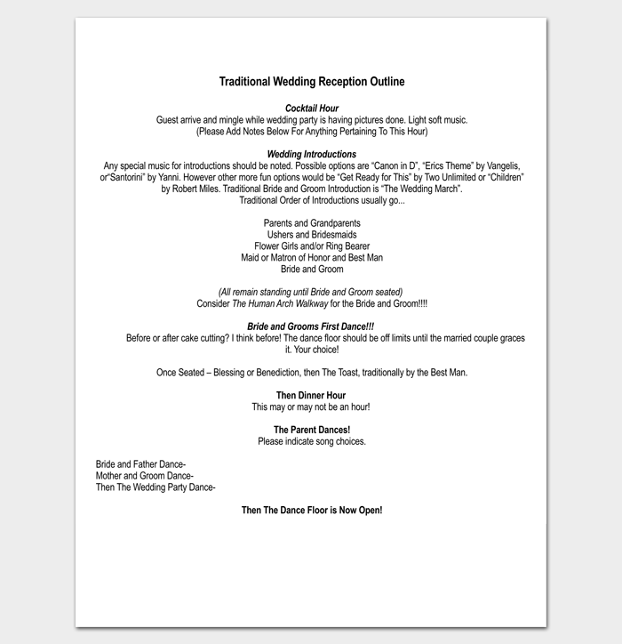 Wedding Outline Template 13 For Word And Pdf Format