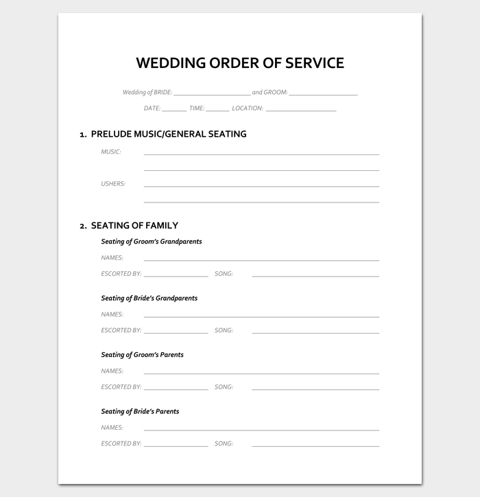 wedding blessing order of service template event program outline 13 printable samples examples