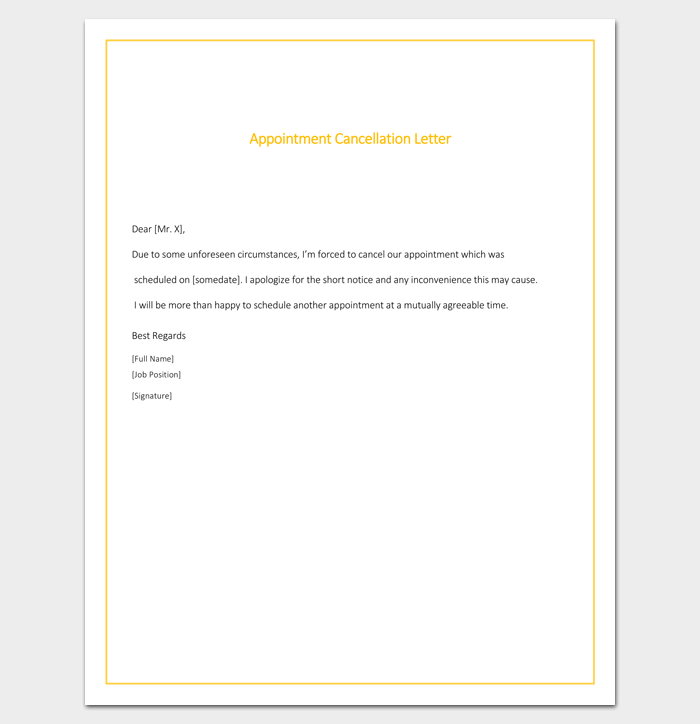 Appointment Cancellation Format Doc