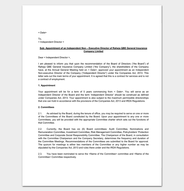 Appointment Letter for Insurance Company 1