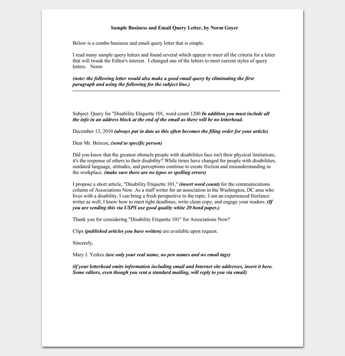 Query letter template 7 formats samples examples business and email query letter 1 spiritdancerdesigns Image collections