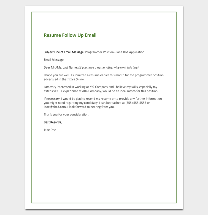 Follow Up Letter Template 10 Formats Samples Amp Examples