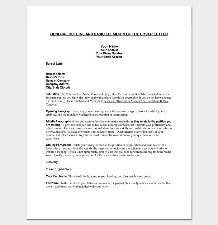 general cover letter outline template