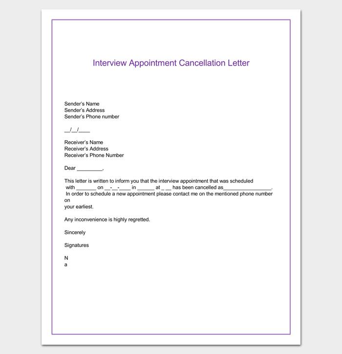 Interview Appointment Cancellation Letter