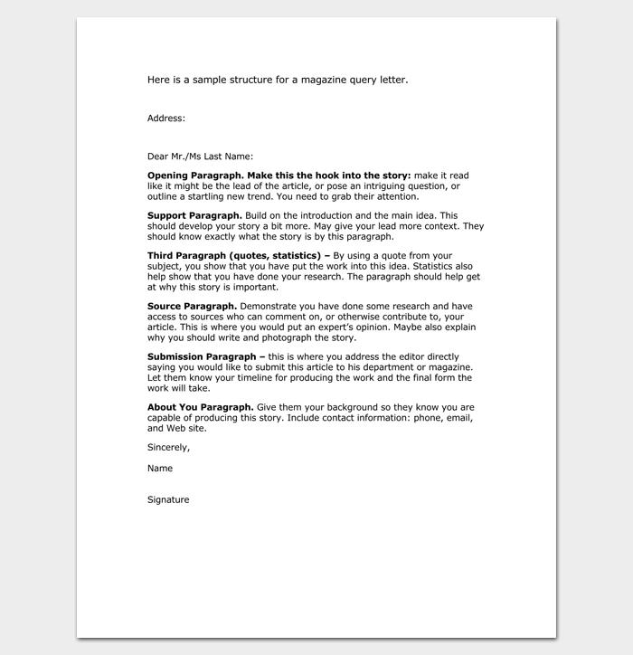 Query letter template 7 formats samples examples magazine query letter 1 spiritdancerdesigns Image collections