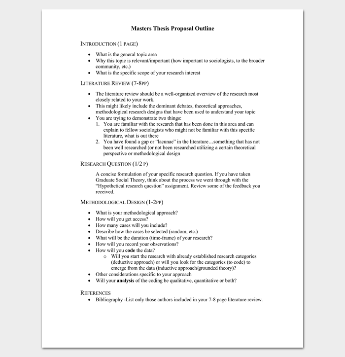 Masters Thesis Proposal Outline Template