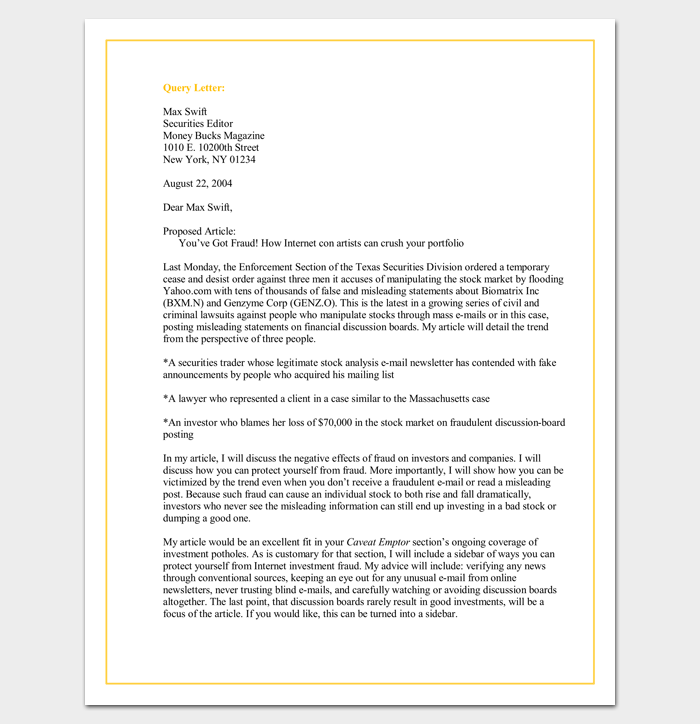 Query letter template 7 formats samples examples query letter template spiritdancerdesigns Choice Image