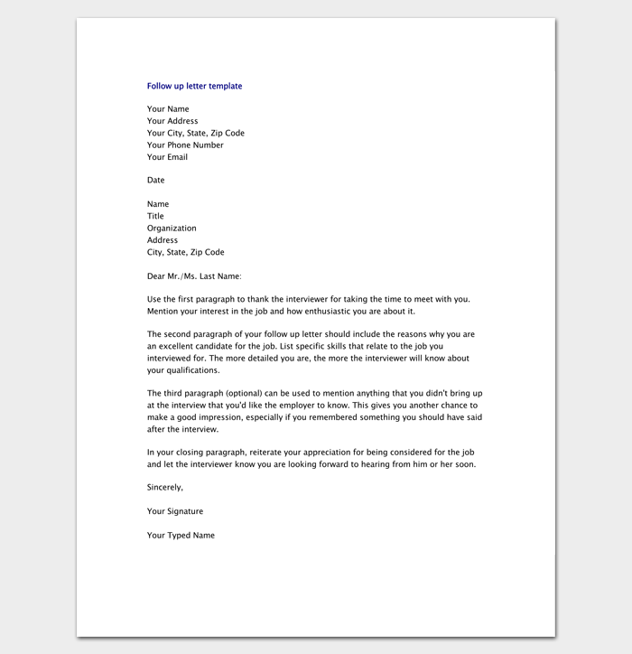 Follow Up Letter Template 10 Formats Samples Examples  Resume Follow Up Letter