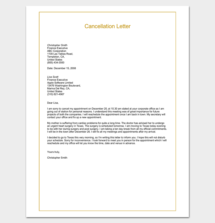 Sample Cancellation Letter Doc