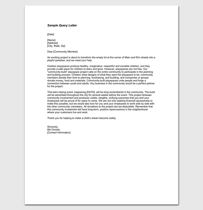 Query letter template 7 formats samples examples sample query letter in pdf 1 altavistaventures Image collections