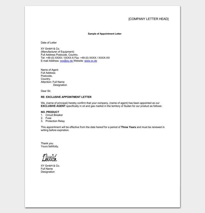 Sample of Agent Appointment Letter 1