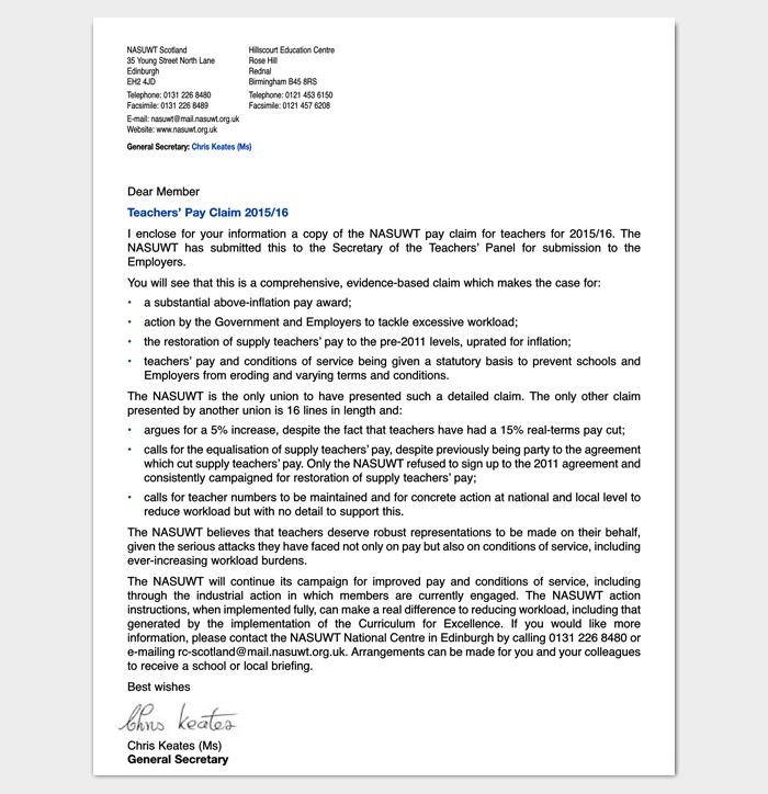 Teachers Pay Claim Letter 1