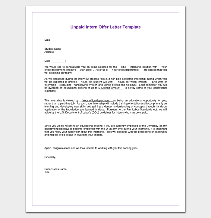 Internship appointment letter template 10 docs formats samples unpaid internship appointment letter word doc altavistaventures Image collections