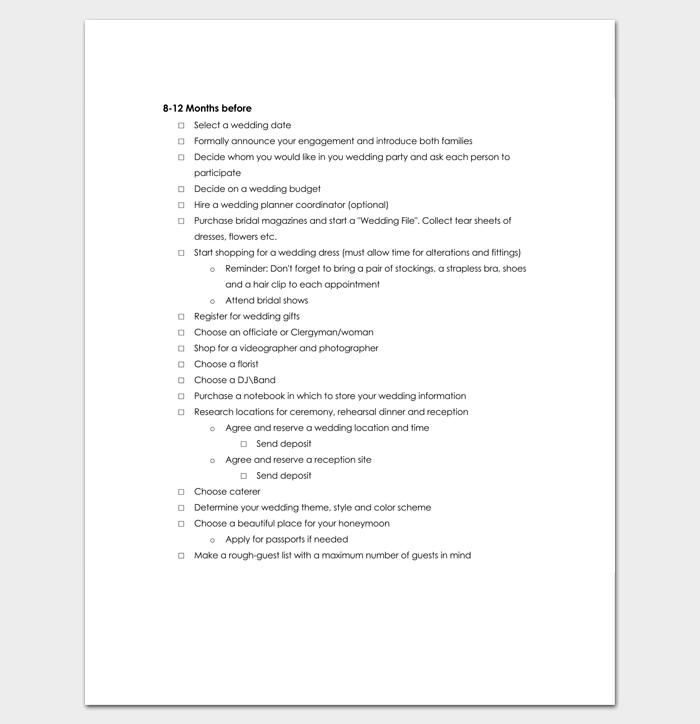 12 Month Planning Wedding Checklist