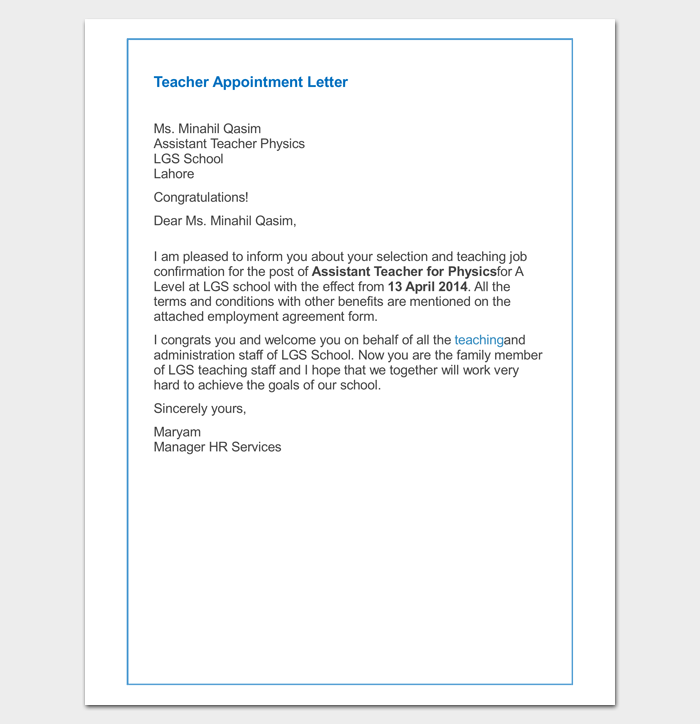 Teacher appointment letter 9 sample example word pdf format teacher appointment letter for primary school thecheapjerseys Images