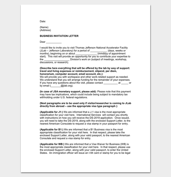 Business Appointment Invitation Letter 1