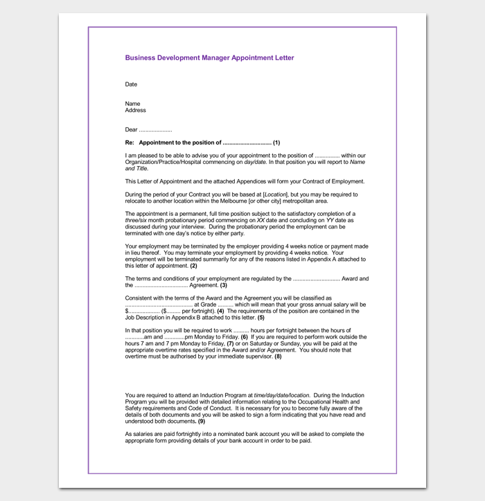 Business appointment letter 20 samples examples formats business development manager appointment letter spiritdancerdesigns Images
