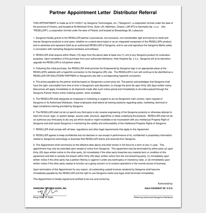 Business appointment letter 20 samples examples formats business partner appointment letter 1 altavistaventures Choice Image