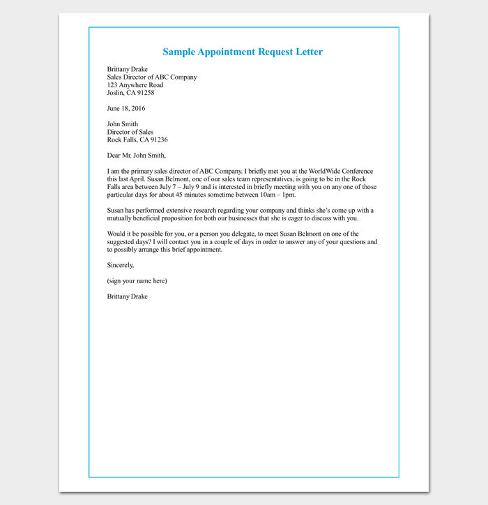 client appointment request letter