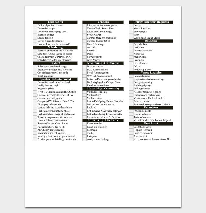 College Event Planning Checklist 1