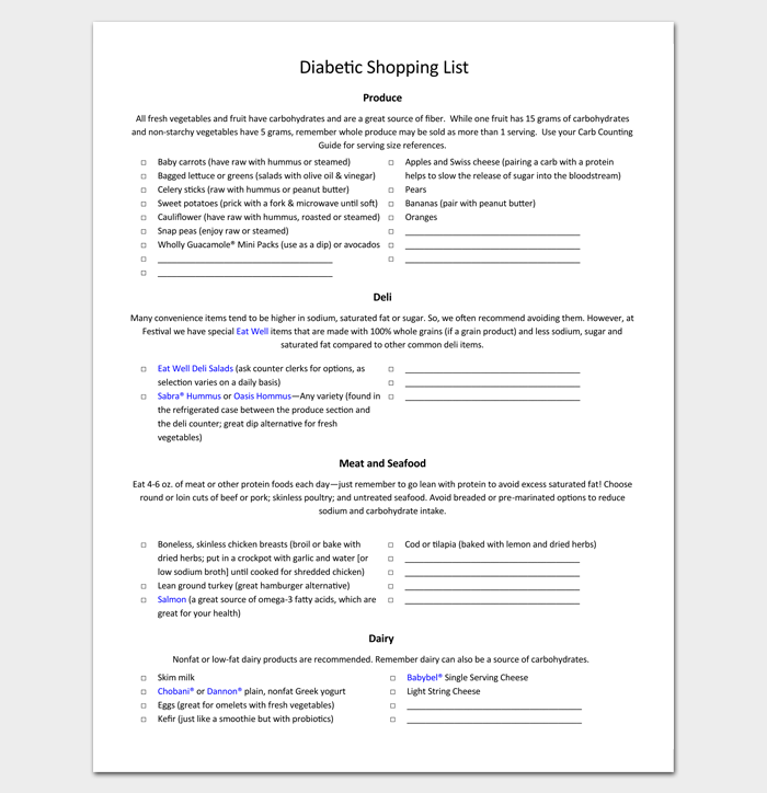 Diabetic Grocery Shopping List 1