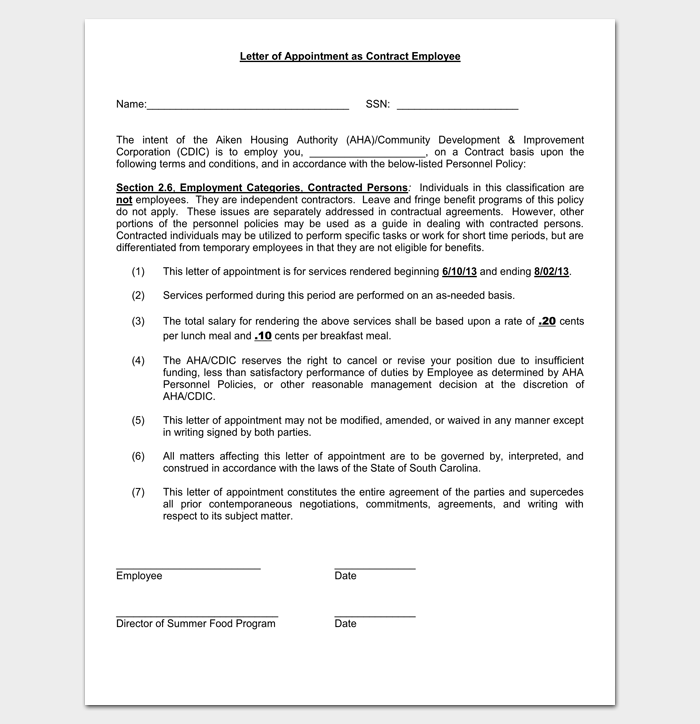 Employee Appointment Contract Letter 1