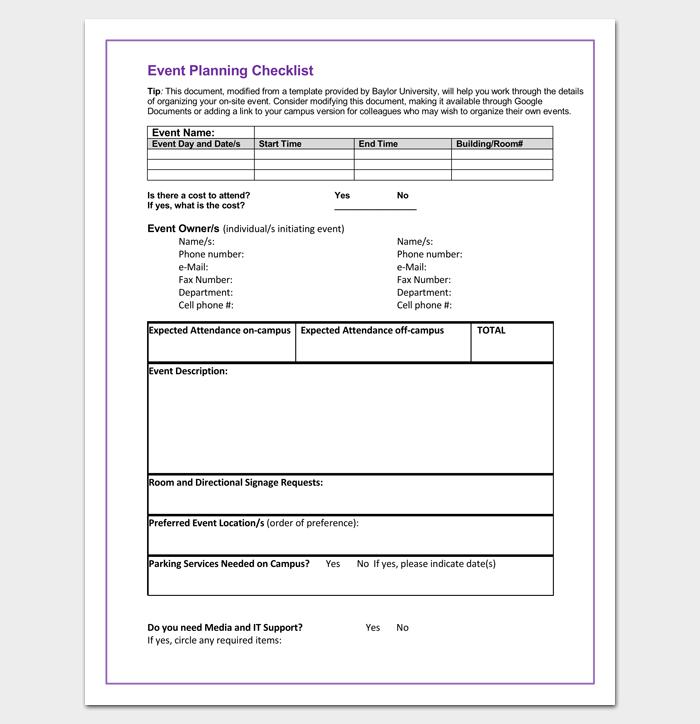 Event Planning Checklist (Word Doc)