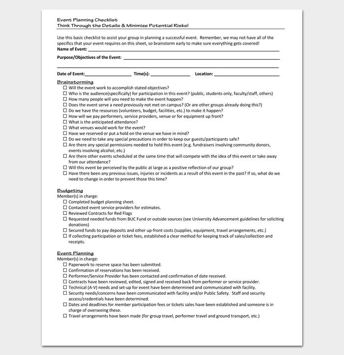Event Planning Checklist for Student Organization 1
