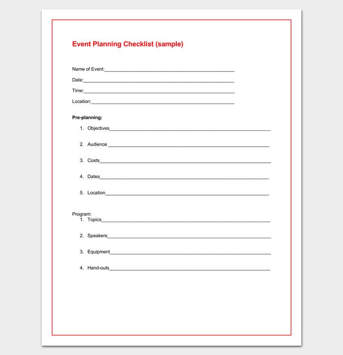 Event Planning Checklist in Word