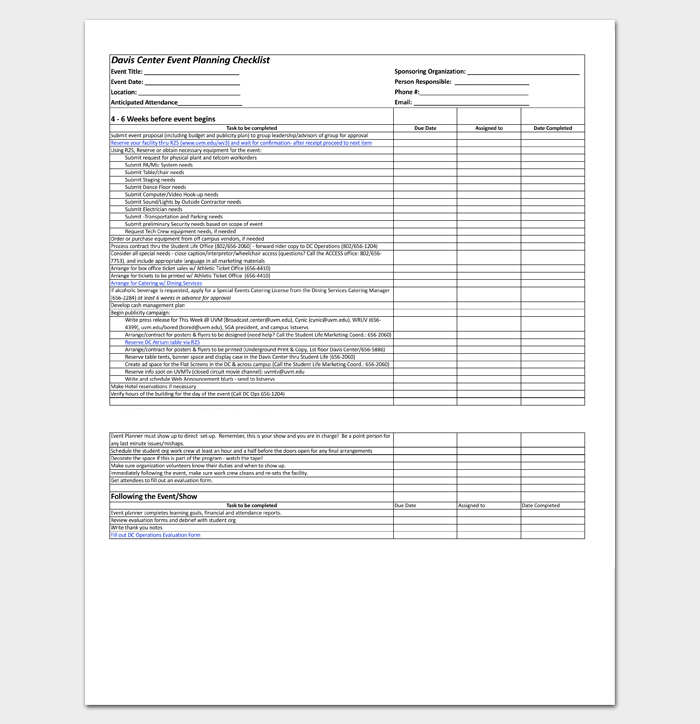 Event To Do List Template - 40+ Checklists in Word, Excel ...
