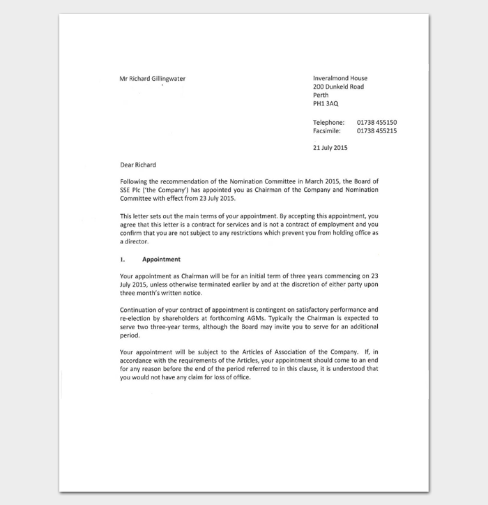 Business appointment letter 20 samples examples formats formal chairman appointment letter 1 spiritdancerdesigns Images