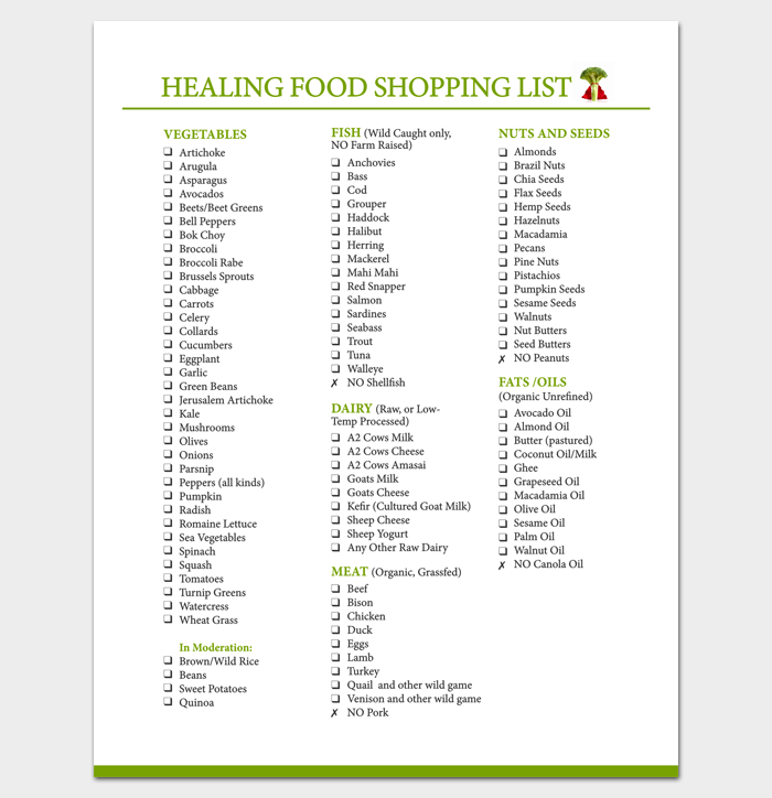 Healing Food List 1