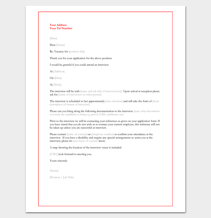 Interview appointment letter 6 samples for word pdf format interview invitation letter altavistaventures Choice Image