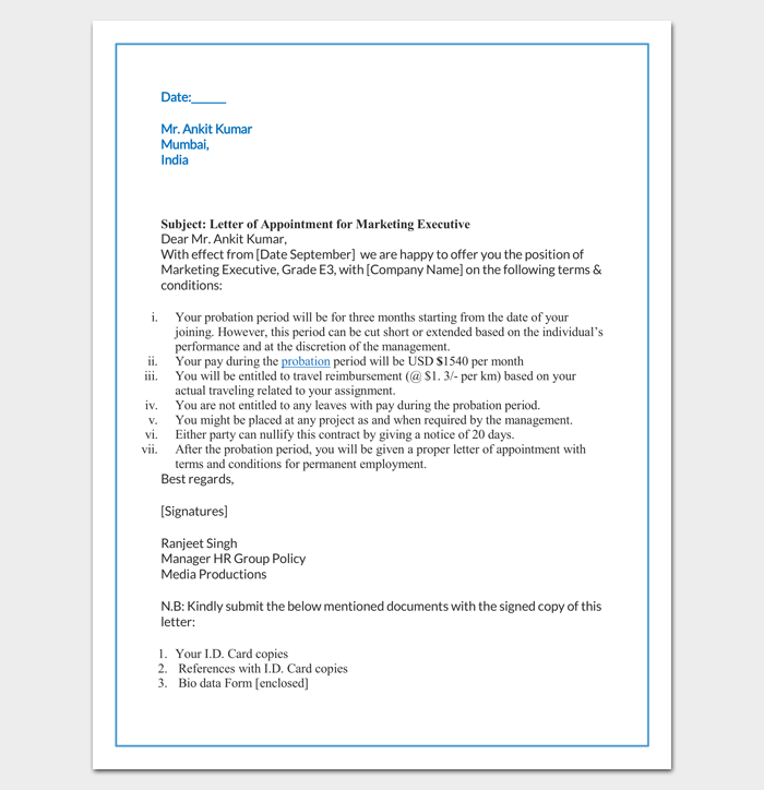 Job Offer Letter Content | Job Appointment Letter 22 Samples In Word Doc Pdf Format