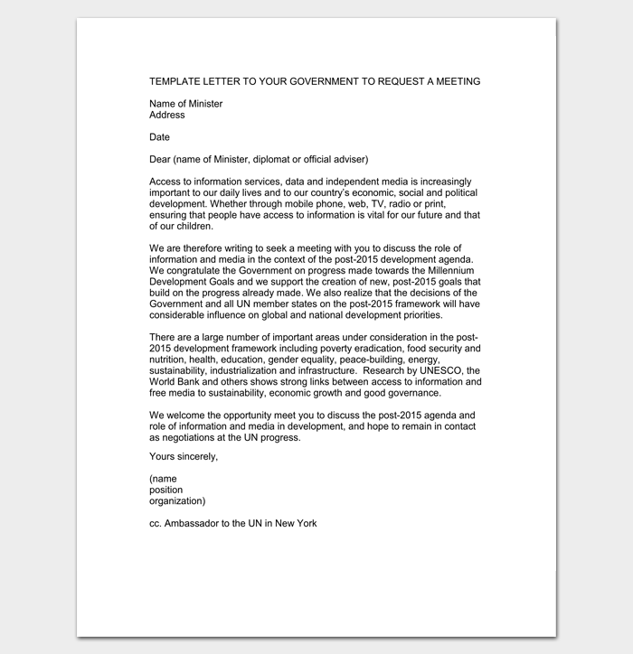 Meeting appointment letter 9 templates for word pdf format letter requesting a meeting with a government official 1 spiritdancerdesigns Image collections