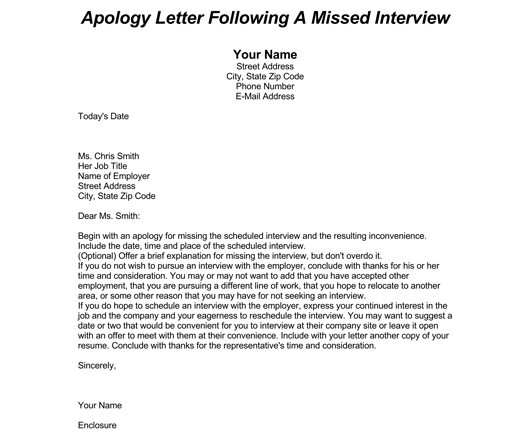 Missed Interview Apology Letter 1