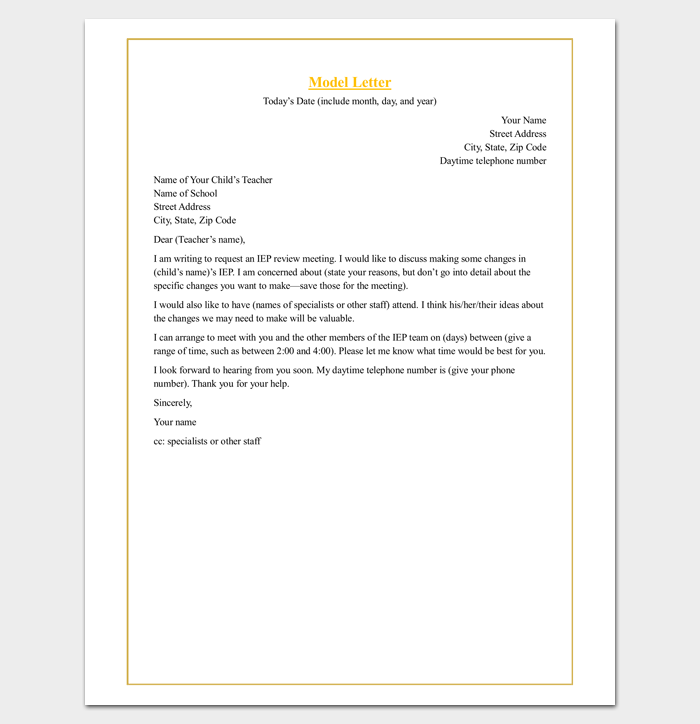 Parent Teacher Meeting Request Letter